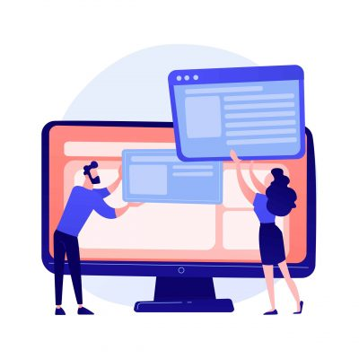 Website interface development planning. Devops team flat characters working. UI, UX, content design. Computer software creation and web development. Vector isolated concept metaphor illustration