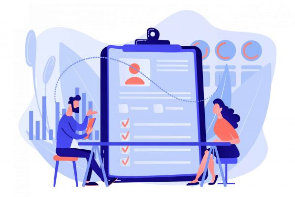 Employer meeting job applicant at pre-employment assessment. Employee evaluation, assessment form and report, performance review concept. Pink coral blue vector isolated illustration