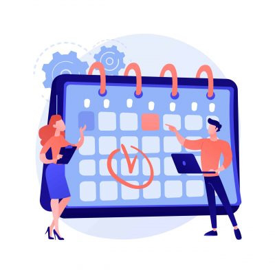 Time managementt. Calendar method, appointment planning, business organizer. People drawing mark in work schedule cartoon characters. Colleagues teamwork. Vector isolated concept metaphor illustration