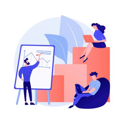 Business financial report. Entrepreneurs cartoon characters writing business plan, analyzing data and statistics. Graphic, information, research. Vector isolated concept metaphor illustration