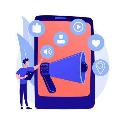 Social media marketing. E commerce tool, SMM management, online advertising. Businessman using social networking for product promotion. Vector isolated concept metaphor illustration