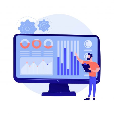 Social media data center. SMM stats, digital marketing research, market trends analysis. Female expert studying online survey results. Vector isolated concept metaphor illustration