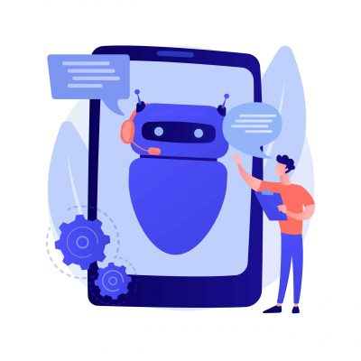 Dialog with chatbot. Artificial intelligence reply to question. Tech support, instant messaging, hotline operator. AI assistant. Client bot consultant. Vector isolated concept metaphor illustration.