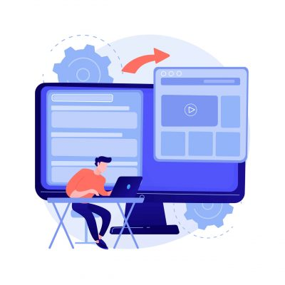 Microsite development abstract concept vector illustration. Microsite web development, small internet site, graphic design service, landing page, software programming team abstract metaphor.