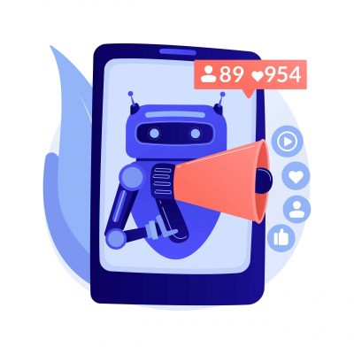 Artificial intelligence in social media abstract concept vector illustration. Artificial intelligence in digital marketing, machine learning in social media, automated algorithm abstract metaphor.